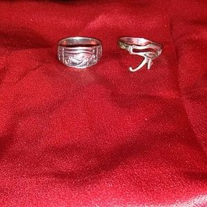 Bundle of 2 Eye of Horus Silver Goth Punk Rings 7!